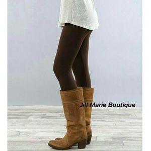 Brown leggings fleece lined Small NWT